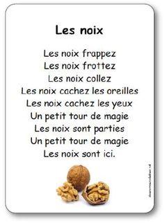 comptine noix, Comptine petite section, moyenne section et grande section sur des noix, comptine maternelle automne noix