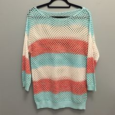 Striped Crochet Sweater Gently used once. Great condition! I put a size small but could be a Children's Large, Women's Small/Medium/Large. Just depends on how you want to wear it! All prices are negotiable! Make me an offer :) Charlotte Russe Sweaters Crew & Scoop Necks