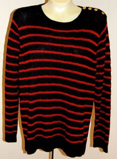 Ralph Lauren LRL Sweater 2X NWT $109 Black Red Stripes Cable Knit Cotton Blend #RalphLauren #Crewneck