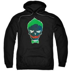 Suicide Squad Joker Skull Adult Hoodie - Officially Licensed - High Quality - 75% Cotton / 25% Polyester Blend - Premium Ringspun Cotton - Double-Needle Cuffs - Pouch Pocket Also Available in: Adult T