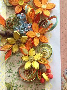открытка выполненная в технике квиллинг.полностью ручная работа каждый завиток, цветок сделан из полосок цветной бумаги 2 мм.,3 мм.