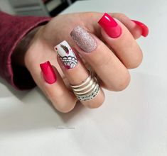 30 Decorated Nail Examples for Winter Bling Nails, Red Nails, Manicure, Finger, Nail Brushes, Hand Care, Nail Decorations, Creative Nails, Gorgeous Nails