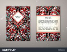 Flyer Template With Abstract Ornament Pattern. Vector Greeting Card Design. Front Page And Back Page. - 465062630 : Shutterstock