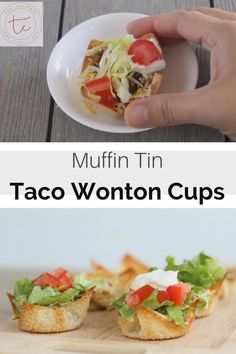 Mini tacos made with wonton wrappers in a muffin tin for the perfect bite sized taco! Wonton Appetizers, Wonton Recipes, Appetizer Recipes, Mexican Food Recipes, Healthy Recipes, Recipes With Wonton Wrappers, Italian Appetizers, Mexican Meals, Bariatric Recipes