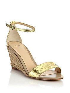 Alexandre Birman Metallic Python Espadrille Wedge Sandals In Gold Wedge Sandals, Espadrille Wedge, Alexandre Birman, Metallica, Wedding Shoes, Open Toe, Ankle Strap, Espadrilles, Wedges