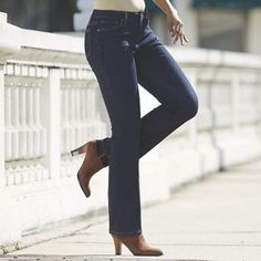 Lolita Bootcut Jean from Monroe and Main. Awesome-fitting jeans have the perfect, subtle flare to slide right over boots and still look lean and long. Skirt Pants, Jeans Dress, Over Boots, Denim Fashion, Womens Fashion, Full Skirts, Colored Pants, Capri Jeans, Cotton Spandex