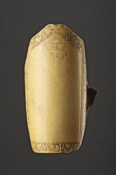 An Interesting French Renaissance Carved Ivory Archers Wrist Guard (1500 to 1700	 France)