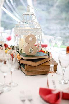 Romantic Rustic Lakeside Wedding Tables Books Numbers http://www.richardjones-photography.com/