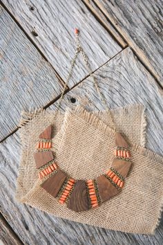 Coral + Wood Mesa Necklace