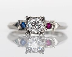 Circa 1940s 14K White Gold GIA Old European Cut .38ct Diamond Engagement Ring with .01ct Sapphire & .01ct Ruby - VEG#599