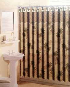 Amazing 13pc Palm Tree Shower Curtain Green Brown With 12 Matching Hooks OVERSTOCK