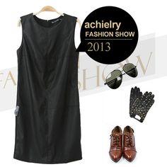 Free Shipping Slim Leather Dress Sleeveless Zipper Back Short Mini Leather Black Women Dress Render Dress Lady One-piece Dress $17.80