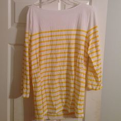 White and yellow stripped shirt Sleeves come to elbow. Perfect for summer spring and fall. NWT. A little wrinkled from storage. Old Navy Tops