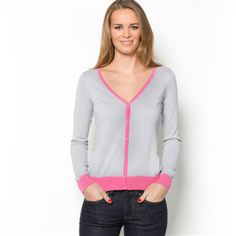 La Redoute Two-Tone Long-Sleeved V-Neck Cotton Rich Cardigan