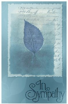 A single leaf accents this blue sympathy card. Free to download and print