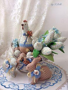 Купить Пасхальная композиция Курочка, кролики, букетик - Пасха, пасхальный подарок, пасхальный декор, курочка