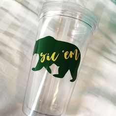 "Custom Baylor ""Sic 'Em"" 16 oz tumbler, made to order!"