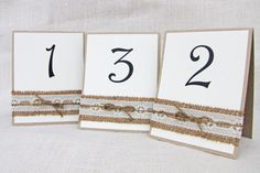Table Number Wedding TableRustic Burlap and Lace by LoveofCreating, $30.00