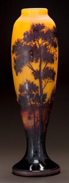 Art Glass:Daum, MONUMENTAL DAUM OVERLAY GLASS LANDSCAPE VASE. Circa 1900. CameoDAUM, NANCY with the cross of Lorraine. Ht. 25-1/4 in.. ...