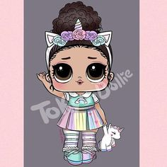 Tokyo Dollie - Cute Unicorn girl requested by Cat Coloring Page, Coloring Pages For Kids, Fondant Girl, Unicorn Wallpaper Cute, Andy C, Disney Wall Decals, Edible Printing, Sleepover Party, Cute Doodles