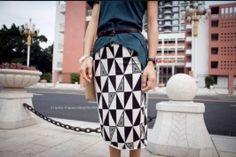 Stylish Geometric Pattern Long Slim Skirt Black Slim, Stylish, Skirts, Pattern, Beautiful, Black, Dresses, Fashion, Vestidos