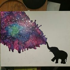 Elephant galaxy crayon melting art.