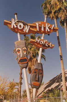 Tiki Style: Kon Tiki Hotel was opened in Phoenix, AZ in closed in 1993 and torn down in I photographed the hotel around 94 when it was gated off from entry. Photo by Dave Bravenec Vintage Tiki, Vintage Neon Signs, Tiki Art, Tiki Tiki, Station Essence, Tiki Hawaii, Retro Signage, Tiki Bar Decor, Tiki Lounge