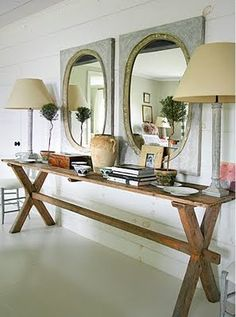 dig the contrast of textures and rustic/glam. of course, i would add some color here and there.