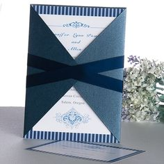 Classy blue pocket wedding invite