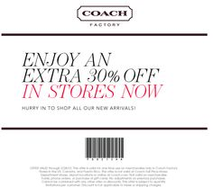 Extra 30% off the discounted fine leatherware from Coach Factory coupon via The Coupons App