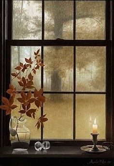 Candlelight and Rain on the Window