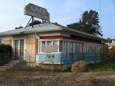 """""""Mullen's Cafe - Buellton, California"""" -- [Mullen's Cafe was a popular stopover along US 101 in Buellton, California. It operated from 1946 until 1958, using two old Los Angeles Electric Railway cars as dining cars.]~[Photograph by Jasperdo (John) - December 2 2009]'h4d-92.2013'"""