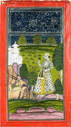 Sarang Ragini (?): A noble with a deer in a landscape.   Date: ca. 1755.     State-Province: Andhra Pradesh.  Court: Wanaparthi.  School: Deccani. Edwin Binney 3rd Collection, San Diego Museum of Art.