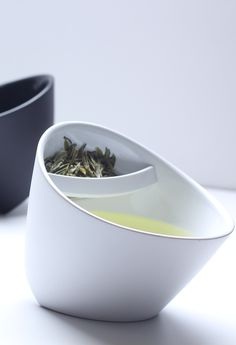 Modern Multi-Angled Tea Cup With Tea Filter -- no need for infusers or bags