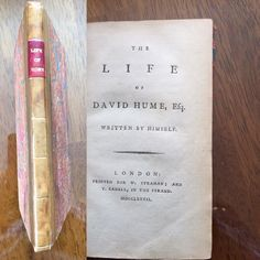 The Life Of David Hume by Himself 1st Edition published w/letter from Adam Smith