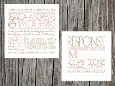 DIY printable typography style wedding invitation and matching rsvp response card. $25.00, via Etsy.