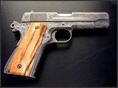 Engraved Colt Combat Commander, Reigel Gun Engraving