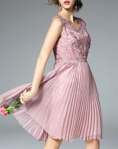 #AdoreWe #VIPme A-Line Dresses - Ewheat Peach Embroidery Sleeveless Pleated Midi Dress - AdoreWe.com