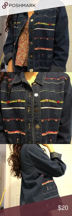 vintage embroidered denim jacket honestly didnt even know it was a vintage item until i checked the tag, its in THAT GREAT of a condition. so adorable, flowers & beads sewn in. size M modeled on an XS.  dont forget you can bundle & save 20%!  • jean long sleeve tshirt collared button up down light Jackets & Coats Jean Jackets