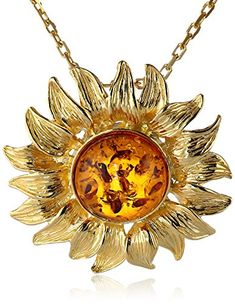 Honey Amber Sterling Silver Gold-Plated Sunflower Pendant Necklace,18'' Amazon Collection http://smile.amazon.com/dp/B00MHOQV6O/ref=cm_sw_r_pi_dp_ovI4vb0JP7P6A