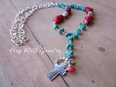 Turquoise Bamboo Coral Cross Pendant Sterling by hogwildjewelry