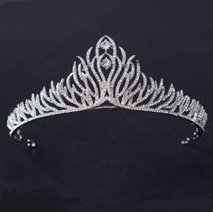 5cm High Lovely Full Crystal Leaf Wedding Bridal Party Pageant Prom Tiara Crown #Crown