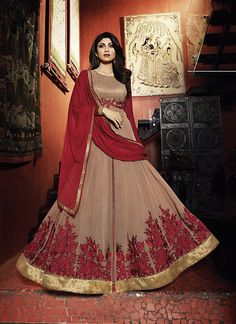 Shilpa Shetty Churidar Style Salwar Kameez in Maroon Color - CDRO076F01A9Q | Indian Trendz