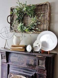 Very pretty display. fireplace decorating / rustic wreath in a basket with wood mantel / by Thistlewood Farms Farmhouse Style, Farmhouse Decor, Wall Decor, Room Decor, Mantal Decor, Rustic Mantle Decor, Vintage Mantle, Antique Mantel, Thistlewood Farms