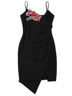 Floral Patched Asymmetrical Surplice Dress - BLACK S Mobile