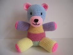Crocheted Stuffed Amigurumi Patchwork Teddy by juliescraftcorner
