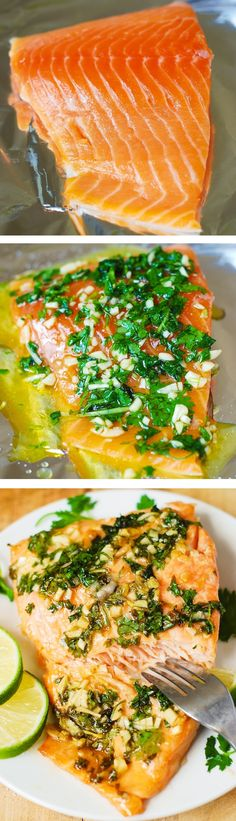 Cilantro-Lime Honey Garlic Salmon baked in foil – easy, healthy recipe that takes 30 minutes from start to finish! All clean eating ingredients are used for this healthy salmon recipe. Fish Dishes, Seafood Dishes, Seafood Recipes, Cooking Recipes, Healthy Recipes, Healthy 30 Minute Meals, Cilantro Recipes, Paleo Fish Recipes, Seafood Meals