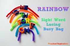 Rainbow Sight Word Lacing Busy Bag