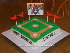 Homemade Baseball  Birthday Cake: Ahead of time I printed an edible image and applied it to rolled fondant with clear vanilla extract and allowed it to dry for at least a week. I then attached