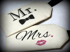 MR. Bow & MRS. Lips  Fabric Luggage Tags by lunahandmade on Etsy